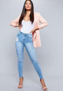 Read more about Light blue high waist distressed skinny jeans blue