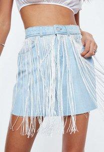 Read more about Blue fringe detail denim skirt blue