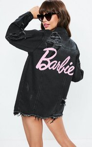 Read more about Barbie x missguided black long sleeve distressed denim jacket black
