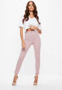 Read more about Pink soft fray hem skinny jeans pink