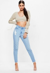 Read more about Blue high rise slash knee mom jeans blue