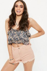 Read more about Pink high waisted extreme frayed hem denim shorts beige