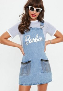 Read more about Barbie x missguided blue dungaree denim dress blue