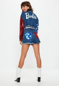 Read more about Barbie x missguided blue sequin american flag pocket denim shorts blue