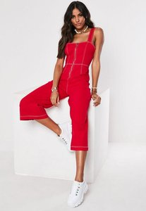 Read more about Red denim contrast stitch zip through jumpsuit red
