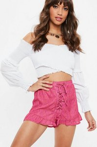 Read more about Pink paisley print lace up runner shorts pink