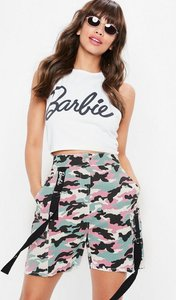 Read more about Barbie x missguided pink camo shorts pink