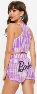 Read more about Barbie x missguided purple tie dye runner shorts purple