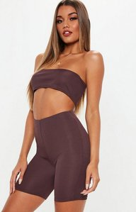Read more about Plum bandeau ribbed crop top and cycling shorts co ord red