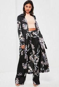 Read more about Black floral print zip detail duster coat black