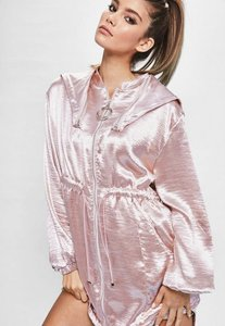 Read more about Londunn missguided pink hammered satin duster jacket pink