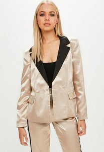 Read more about Gold satin tailored button blazer pink