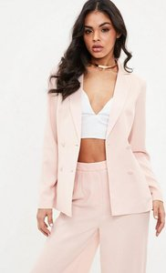 Read more about Blush satin lapel double breasted blazer red