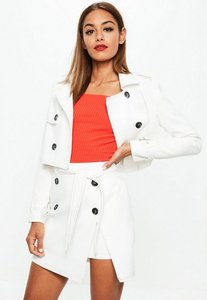 Read more about White cropped contrast stitch jacket white