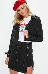 Read more about Black contrast stitch button cropped jacket black