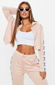 Read more about Barbie x missguided pink logo cropped track jacket purple