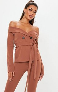 Read more about Rust stretch crepe bardot tie waist blazer brown