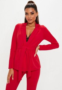Read more about Red stretch crepe tie waist blazer red