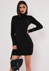 Read more about Basic high neck long sleeve jumper dress black black