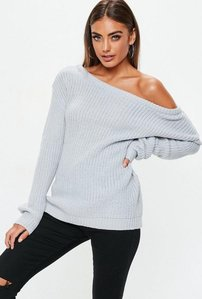 Read more about Grey off shoulder knitted jumper grey