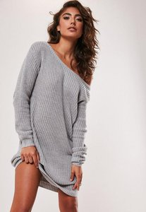 Read more about Grey off shoulder knitted jumper dress grey