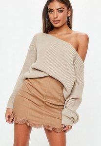 Read more about Beige off shoulder knitted jumper grey