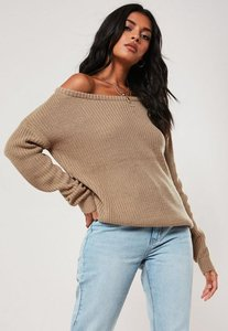 Read more about Taupe off shoulder knitted jumper brown