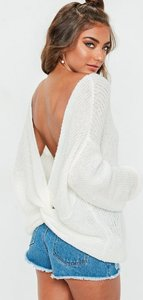 Read more about White fluffy yarn twist back oversized knitted jumper white
