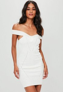 Read more about Cream stitch detail bardot mini knitted jumper dress white