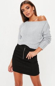 Read more about Grey brushed off the shoulder knitted jumper grey