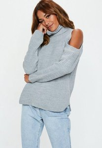 Read more about Grey cold shoulder knitted jumper grey