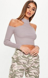 Read more about Mauve high neck cold shoulder knitted crop top purple