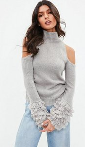 Read more about Grey cold shoulder shaggy sleeve jumper grey