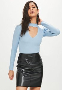 Read more about Blue high neck keyhole detail crop jumper blue