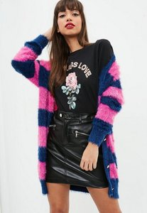 Read more about Pink striped longline fluffy knitted cardigan pink