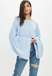 Read more about Blue knitted cropped jumper blue