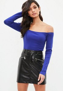 Read more about Blue bardot cropped knitted jumper blue