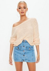 Read more about Peach off shoulder cropped knitted jumper grey