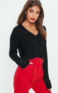 Read more about Black v front plunge crop knitted jumper black