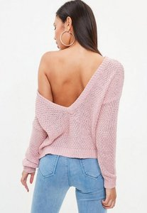 Read more about Pink plunge v back knitted jumper pink