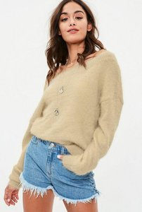 Read more about Nude fluffy bardot cropped knitted jumper beige