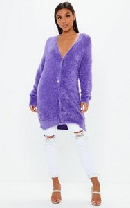 Read more about Purple longline fluffy cardigan purple