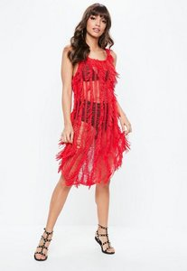 Read more about Red crochet fringe dress red