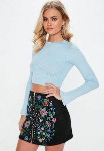 Read more about Blue crew neck ribbed crop knitted jumper blue