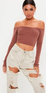 Read more about Mocha bardot knitted cropped jumper brown