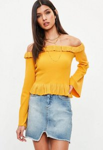 Read more about Yellow frill bardot knitted top yellow