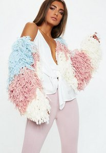 Read more about Blue colour block shaggy cardigan white