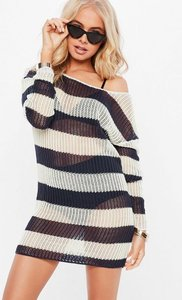 Read more about Navy stripe crochet oversized jumper blue