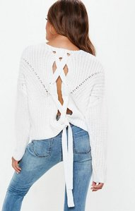 Read more about White lace up back chunky knitted jumper white