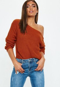 Read more about Rust crop off shoulder knitted jumper brown